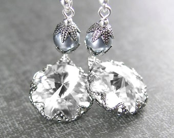 Clear Crystal Earrings Sterling Silver Earrings April Birthstone Diamond Swarovski Crystal Drop Earrings Vintage Style Jewelry