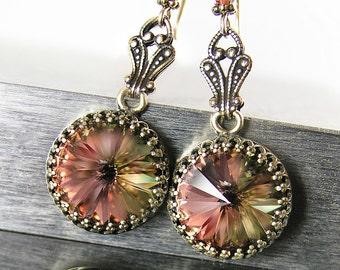 Vintage Style Earrings RARE Green Peach Swarovski Crystal Earrings Antique Gold Brass Earrings Earthy Mossy Drop Earrings Victorian Jewelry