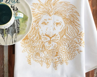 Tea Towels - Screen Print Tea Towel - Flour Sack Towels - Kitchen Towels - Lion - Tea Towel Set - Tea Towel Flour Sack - Floral Dish Towels
