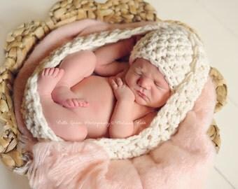 SET Chunky Baby Bowl Newborn Egg Hat Set in Cream