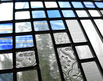 Stained Glass Framed Panel - Urban River in Blue and Clear Glass Window