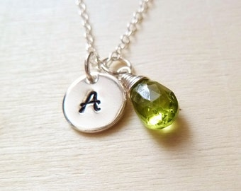 Personalized Initial Birthstone Necklace. Any 1 birthstone Charm.Gold or Silver.Green Peridot necklace. August birthstone necklace. Leo gift