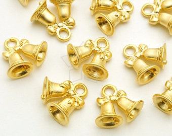 PD-1746-MG / 4 Pcs - Tiny Christmas Charms Series, Christmas Bells Charm Pendant, Matte Gold Plated over Pewter / 7.5mm x 14mm