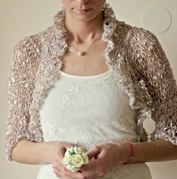 romantic champagne nude bolero bridal silk beige nude by. Black Bedroom Furniture Sets. Home Design Ideas