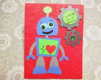 Set of 6 Valentines - ROBOT - I Like U a Bot