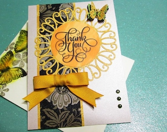Handmade Thank You card with decorated envelope, thank you cards, butterfly cards, thanks cards, medallion cards, doily cards