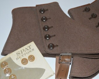 Wool SPATS Brown Shoe Covers with extra pkg buttons Victorian vintage COSTUME
