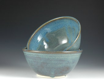 12 oz Blue Ceramic Rice Bowl by Douglas Bechler, Stoneware Pottery,  Country Blue Ice cream Bowl, Condiment Bowl