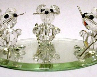 Crystal Three Blind Mice Figurine Handcrafted By Bjcrystals Using Swarovski Crystal