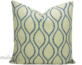 Blue and Cream Pillow Cover - 24 inch - embroidered Coral - blue and cream - jute - creative threads - beach - embellishment - ready to ship