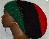 Pan-African Crochet Mega Tam with Drawstring Dreadlocks Unisex Red Black Green by Razonda Lee Razondalee Made to Order