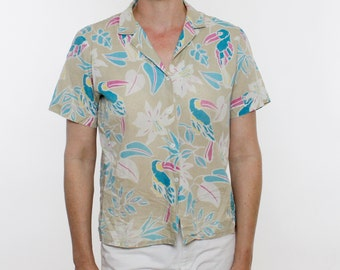 Vintage 80's button down shirt, short sleeved, poly cotton, lightweight, tropical pattern, tan / turquoise / pink / yellow / white - Medium