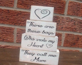 Shabby chic solid pine so there's these boys stole heart mum mom wooden blocks shelf sitters