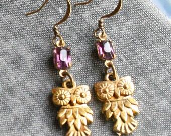 Owl Earrings, Amethyst Earrings  Dangle Gold Owl Earrings Owl Jewelry Purple
