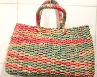 Straw Handbag.  Straw Purse.  Italian Straw Handbag.  Magid Straw Handbag.