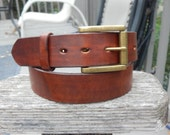 Brown or Black Leather Belt w/ Heavy Solid Brass Roller Buckle