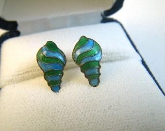 Cloisonne Enamel Seashell Post Earrings Gold Washed Sterling Silver Green Blue