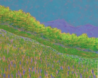 spring hills with lupines, original painting of spring, free shipping in US