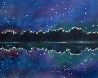 night sky painting, night star painting, starry night reflections on lake, titled  stars on the water,