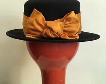 Deborah Rhodes Designer 80s Vintage Pumpkin Orange Grosgrain Ribbon Hat