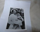 Vintage Black and White Photo Of A Woman Holding A Baby, collectable
