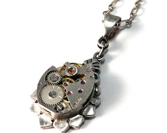 Steampunk Necklace - Silver Mechanical Watch Pendant - Jeweled Petite Teardrop - Industrial Urban Victorian by Compass Rose Design