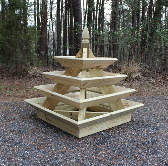 Diy Flower Tower Planter: Woodworking Plans Pyramid Planter Illustrated With Photos