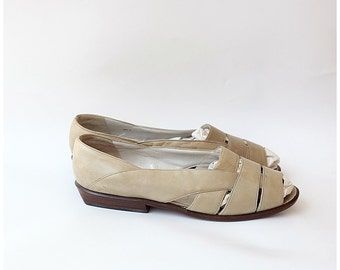 CIJ Sale. Bally Switzerland peep toe flats / 1980s vintage cut out flat designer sandals sz UK 4.5 US 6.5 EU37