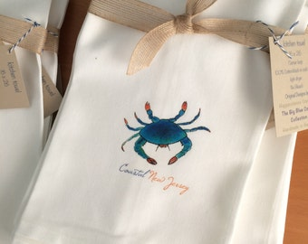 Blue Crab, Kitchen Towel, Personalized Coastal New Jersey, State Option, Cotton Kitchen Gift