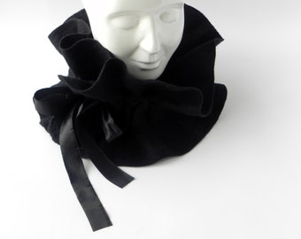 Felted scarf, black felt scarf, warm woman scarf, original accessory, Great gift idea, gift for mother, Gift for her, CHRISTMAS GIFT