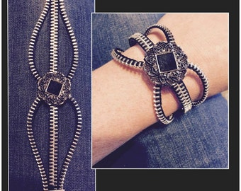 Zipper Bracelet - Black/Silver