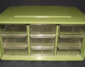 Vintage Plastic 9 Drawer Storage Unit