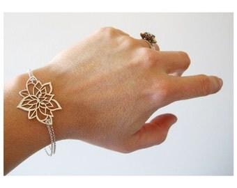 Lotus Bracelets, Lotus Flower Bangles, Sterling Silver Lotus Flower Jewelry, Silver Lotus Bracelet, Lotus floral Bangle, recycled silver