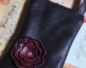 Black Leather with Cabernet Burgundy Poppy Flower Cell Phone Galaxy Iphone Smartphone Sling Crossbody Camera Gadget Case Zipper Pouch