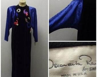 Sale Valentines 1970s  Oscar De LaRenta Long Dress or Robe, Velvet and Applicae,  #37136