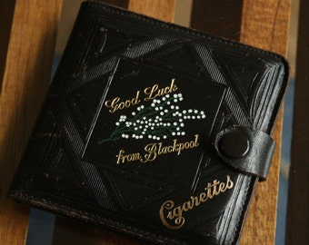 Vintage leather cigarette case.  Souvenir of Blackpool. Business card case