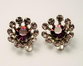 Vintage purple crystal earrings. Clip on earrings