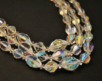 Vintage crystal bead necklace. 3  row necklace. Aurora borealis beads.