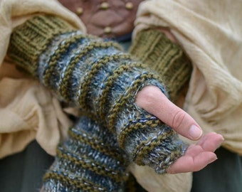 Hand Knit Arm Warmers/Fingerless Gloves in Olive and Gray