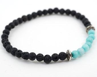Boho Jewelry Black Lava Stone Bracelet his bracelet Gift for boyfriend Gift idea for men Gift for him Aqua Surfer Bracelet Thin Stacking
