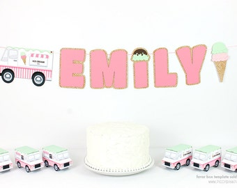 Ice Cream Banner : Handcrafted Custom Phrase Birthday Party Decoration | Ice Cream Truck | Ice Cream Cone | Ice Cream Social | Choose Colors