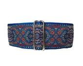 2 inch Martingale Collar, Red Martingale Collar, Jacquard Dog Collar, Blue, Red, Greyhound Collar, Custom Dog Collars, Sighthound Collar