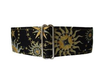 2 inch Martingale Collar, Sun Moon Stars Martingale Collar, Sun Moon Stars Dog Collar, Black and Gold, Custom Dog Collar, Greyhound Collar