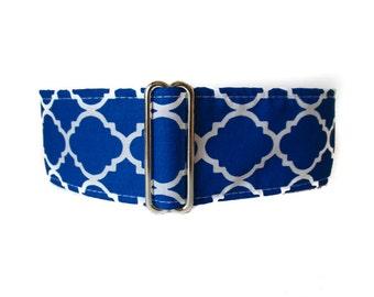 1.5 Inch Martingale Collar, Blue Martingale Collar, Greyhound Martingale Collar, Royal Blue, Damask, Sighthound Collar, Wide Dog Collar
