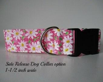 1.5 Inch Dog Collars, Pink Dog Tag Collar, Pink Dog Collar, Daisy Dog Collar, Wide Dog Collar, Greyhound Tag Collar, Custom Dog Collar