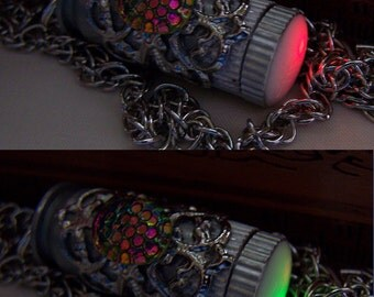 LED Color Changing Silver Filigree Bullet Jewelry Pendant