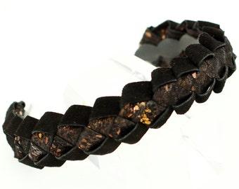 Black and bronze braided suede leather headband woodland wedding prom wrapped chunky headband wearable art