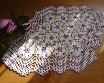 March handmade doily ,wedding doily.Summer,gift,decoration,gift idea,table decor,purple and white doily,table doily.3 diffrent size doily.