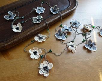 Crochet handmade  Beaded Small Flower Garland .