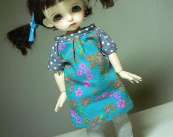 bjd Lati Yellow SP outfit blueflowersneonpink
